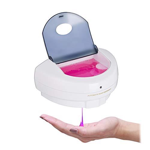 Relaxdays Seifenspender automatisch, Infrarot Sensor, nachfüllbar, Volumen 500 ml, No Touch Wandseifenspender, weiß, 1 stück
