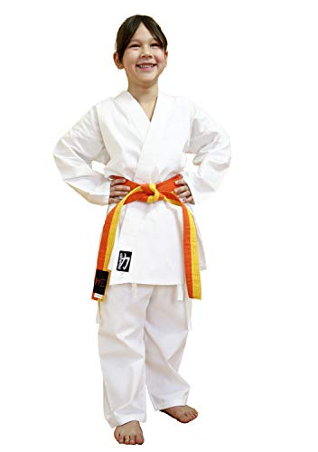 Chikara Karateanzug Kinder weiß, Karateanzug Kinder Baumwolle, Kampfsportanzug Kinder (80)