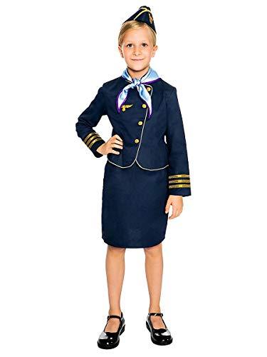 Maskworld Hochwertiges Stewardess Kinder-Kostüm perfekt für Karneval Fasching & Mottoparty - Flugbegleiterin Uniform Verkleidung Anzug - Größe 104