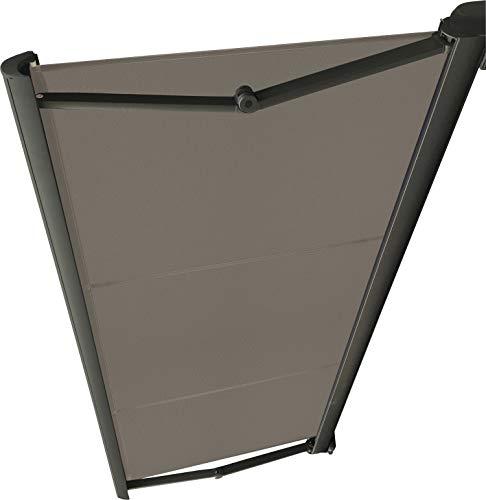 Store DE TERRASSE Coffre Integral MOTORISE RAL Anthracite 5,92 X 3 Toile Dickson® Taupe