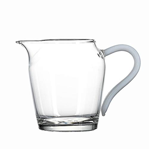 Jarra de cristal transparente, jarra para servir, jarra de salsa, jarra de café con leche para cocina (9.5 onzas) – Juego de 2 (color: blanco)