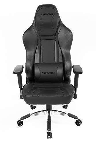 AKRACING Office Obsidian Gaming Stuhl mit 5 Jahren Herstellergarantie für PC/PS4/XBOX/Nintendo, Schreibtischstuhl mit Kissen, PU-Kunstleder - Carbon/Schwarz