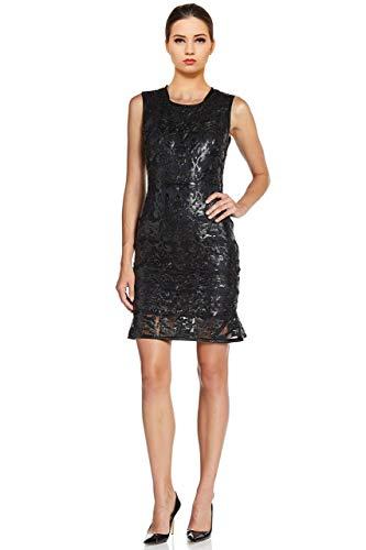 Elie Tahari Sierra Leather Filigree Sheath Cocktail Evening Dress