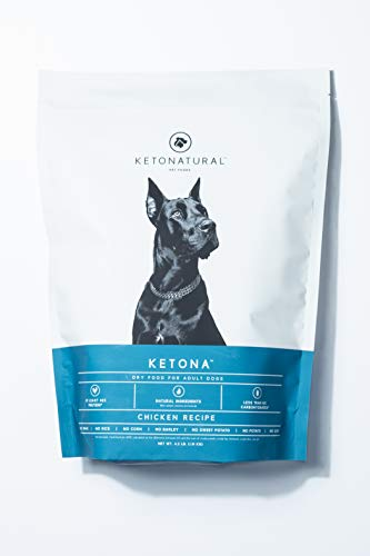 Ketona Chicken Recipe Dry Food for Adult Dogs - Low Carb, High Protein, Grain-Free Dog Food (4.2 lb)