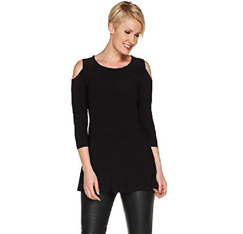 Attitudes by Renee Jersey Cold Shoulder Tunic Top Pockets Black Plus Size 2X ... 2 via @amazon
