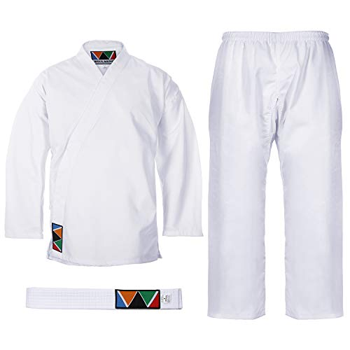 WSULMENG Sports Karate Uniform for Kids and Adults Lightweight Student Karate Gi Martial Arts Uniform with Belt (2 (4'9'' / 110lbs)) White