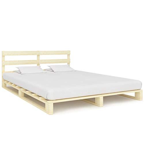 VidaXL massief grenenhout palletbed palletmeubelen massief houten bed bed futonbed ledikant bedframe tweepersoonsbed 160x200cm