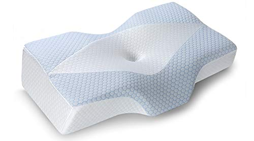 Mkicesky Cervical Pillow for Sleeping Memory Foam Contoured Neck Support Bed Pillows with Neck and Shoulder Pain Relief, Cooling Ice Silk Hypoallergenic Pillowcase for Side/Back/Stomach Sleepers