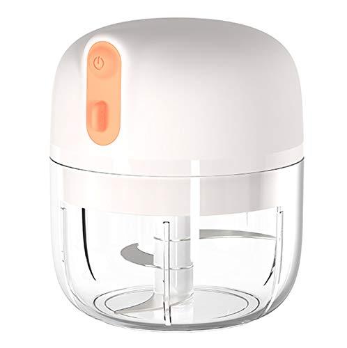 Chopper de alimentos eléctricos portátiles, chopper de alimentos recargables eléctrica, mezcladora de mini blender portátiles USB, para vegetaría de ajo, Dicing, Pie White