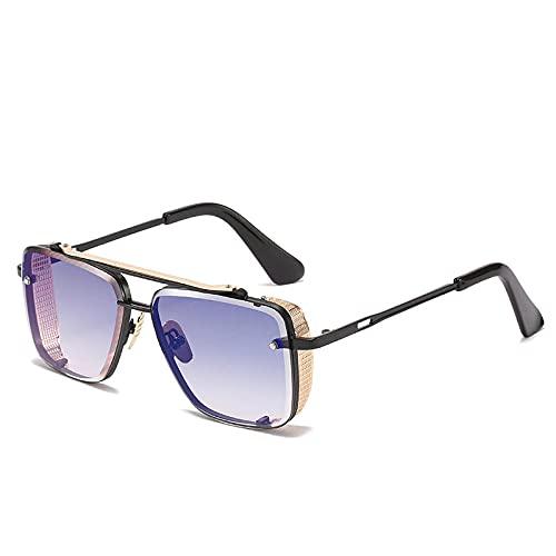 XDOUBAO Gafas de sol Gafas de sol hombres y mujeres metal tinta cuadrada moda doble haz 蛤蟆 espejo-CABRA BLACK C2 Película de plata de agua azul dorada