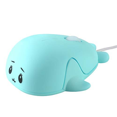 mouse wireless kids Usbkingdom piccolo mouse ottico USB Wired mouse for Girls Kids Cartoon Animal a forma di delfino Blue