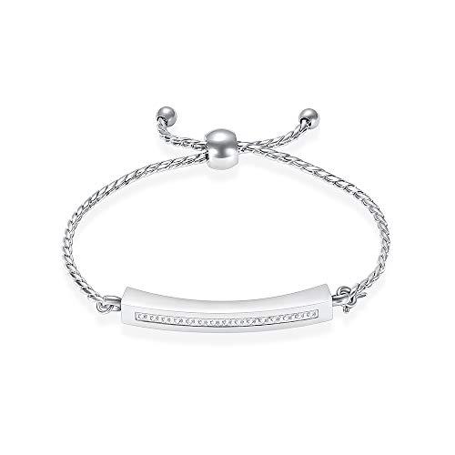 XSMZB Urn Bracelet for Ashes Stainless Steel Crystal Cube Cremation Bracelet Locket Memorial Ashes Holder Bangle Keepsake Cremation Cuff Bracelet for Ash(Silver)