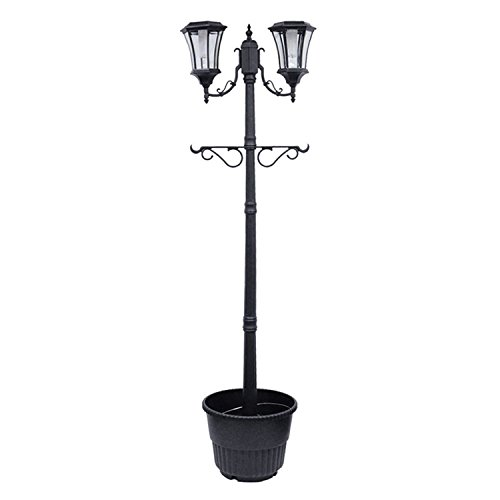 Sun-Ray 312007 Martens 2-Head Solar LED Lamp Post and Planter