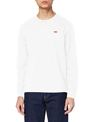 Levi's Original Hm tee Camiseta, LS Cotton + Patch White, L para Hombre
