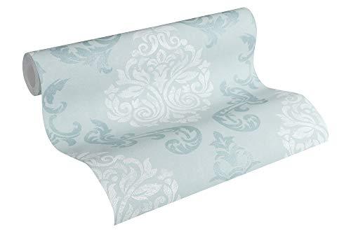 A.S. Création Vliestapete Memory Tapete neo barock glamourös klassisch 10,05 m x 0,53 m blau metallic weiß Made in Germany 953725 95372-5