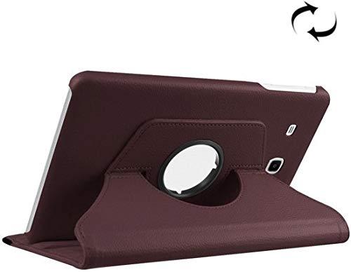 Samsung Galaxy Tab E 9.6 / T560 horizontaal Litchi structuur 360º Draaibaar Hoesje (koffie kleur)