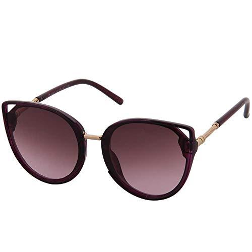 OGOBVCK Ojo de gato espejo lente gafas de sol con proteccion UV ligera montura de gafas de sol de moda de Cateye (Purple)