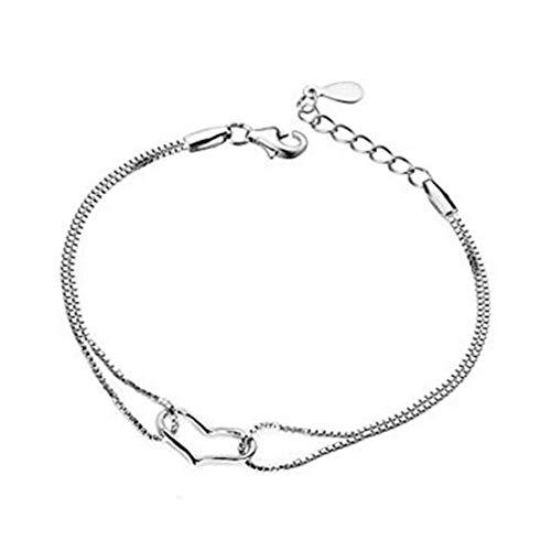 Naicasy Pulsera Pulsera de la aleación de línea Doble de la Manera del corazón Exquisito Brazalete niñas para Mujeres de joyería de Plata