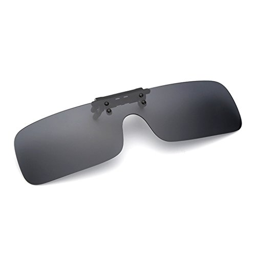 クリップオン オーバーサングラス 偏光レンズ uv400カット を防ぐ 夜用メガネ 夜用眼鏡 夜釣り 釣り 運転 夜間運転用 昼夜兼用 男女兼用 (黒)