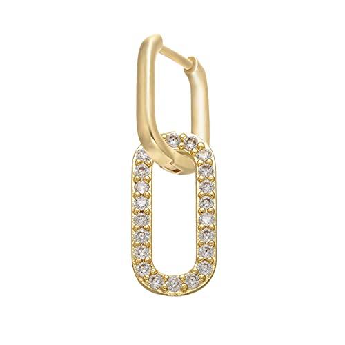 Owenqian Pendientes de aro pequeños de Cristal CZ de 1 Pieza, Pendientes de Mujer de rectángulo Redondeado de Color Dorado/Plateado