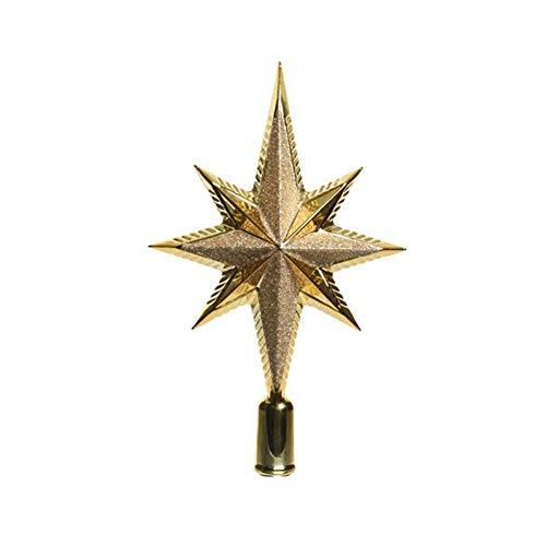 KAE Baumspitze Stern Glitter 25cm Kunststoff (Gold) bruchfest // Christbaumschmuck Weihnachtsdeko Christbaumspitze Weihnachtsbaumspitze Baumspitze Tannenbaumspitze