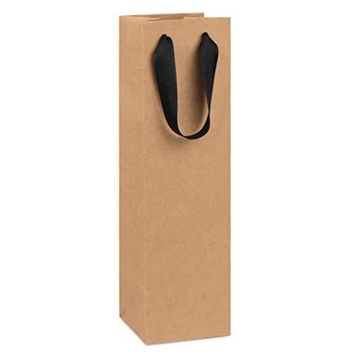 Wine Bag, Kraft Brown, for Wine Bottles, Whiskey/Spirits, 4x4x14 Reusable Bag, Laminated for Extra Strength. (10 Pack)