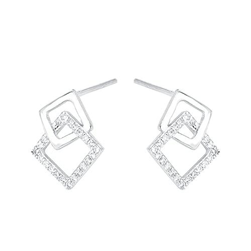 FPOJAFVN S925 Pendientes De Circonita Cuadrada De Plata Exquisitos Pendientes De Diamantes De Mosaico Geométrico para Mujer Joyería, Plata