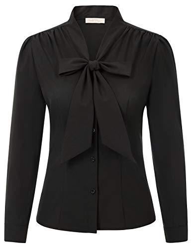 Fashion Tops Damen Langarm Bluse festlich Vintage Sommer t-Shirt schwarz M BP2023-1