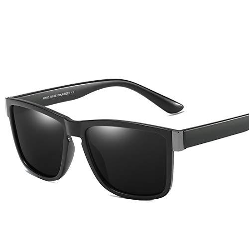 MIMIOOORE Gafas de Sol polarizadas UV400 Protección de conducción Ciclismo Running Pesca Golf Marco Completo de los Hombres del Estilo Retro (Color : Black)