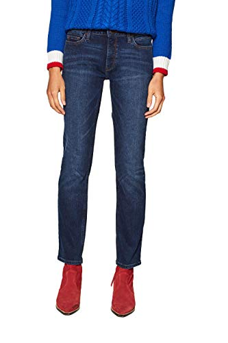 ESPRIT Damen 128EE1B015 Straight Jeans, Blau (Blue Dark Wash 901), W28/L32