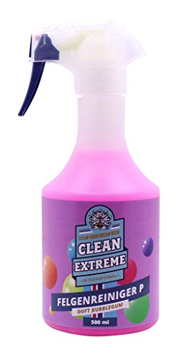 CLEANEXTREME Felgenreiniger Bubblegum Duft 500 ml Spray - Säurefreier, hochwirksamer Reiniger für Alufelgen - mit Farbumschlag Farbindikator Farbwechsel