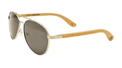 Sonnenbrille aus Holz Pilotenbrille Holzbrille aus Buchenholz polarisierende Gläser Cat 3 UV400 Federscharnier LEMONWOOD Pilot-Beech incl. faltbarem Kork-Etui