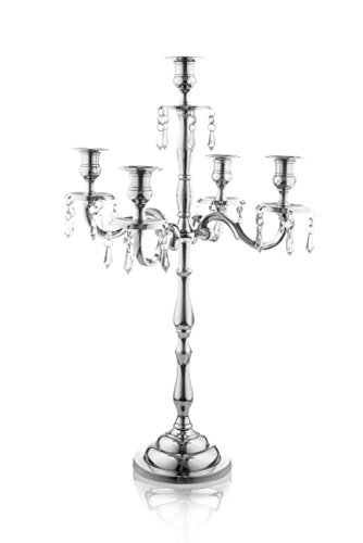 Klikel Heritage 24 Inch Silver 5 Candle Candelabra With Crystal Drops - Classic Elegant Design - Wedding, Dinner Party And Formal Event Centerpiece - Nickel Plated Aluminum, Dangling Acrylic Crystals