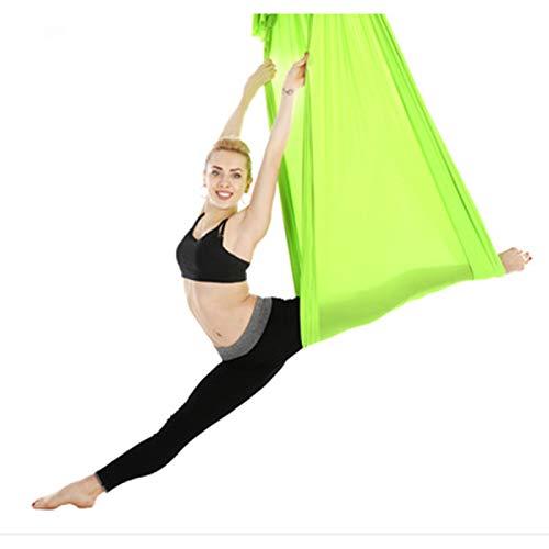 LYKH Hamaca de yoga aérea en estudio de yoga, correa elástica invertida para el hogar, hamaca de yoga ampliada, verde hierba