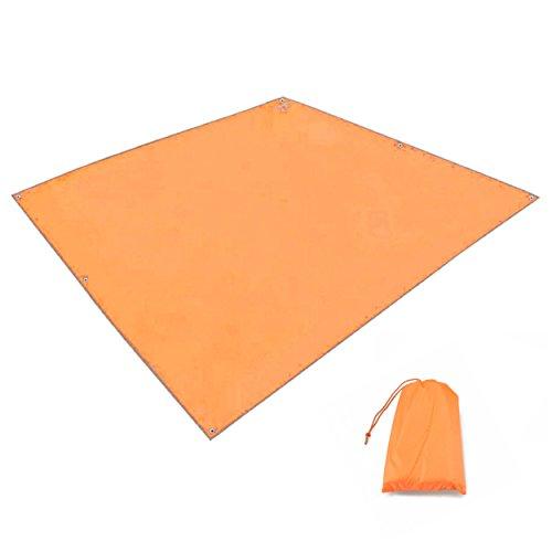 TRIWONDER Tarp Tapis de Sol Camping 215 x 215 cm Abri Bâche de Tente Hamac Parasol Auvent Léger Imperméable pour Camping Randonnée Pique-Nique Plage (Orange - 215 x 215 cm)