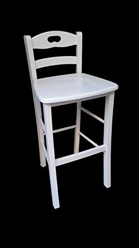 Sgabello sedia legno massello bianco con schienale bar pub ristorante agriturismo