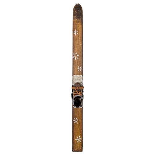 aubaho Ski mit Schuh Holz Winter Dekoration Schnee Skier Holzski Sport Antik-Stil 89cm