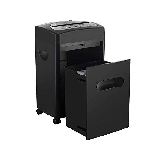 Office shredder Elektrischer Aktenvernichter for Kleine Büros, 5 Minuten Ununterbrochene Laufzeit, P-4 Hohe Sicherheit (3 Mm × 9 Mm) Und 50 DB Geräuschloser Betrieb, 18-Liter-Auszugskasten, Schwarz