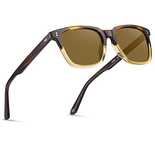 Carfia Cuadradas Gafas de Sol Mujer Polarizadas UV400 Protección Retro Acetato Marco Conducción Glasses