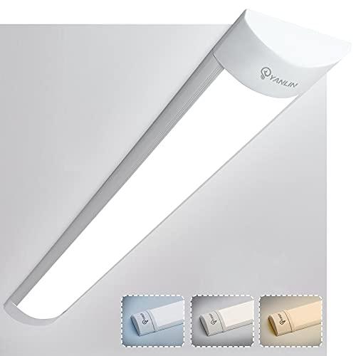 2ft Led Tube Light, 20w Dimmable 3 Light Color Led Ceiling Light Fixture for Garage, Workbench, Closet, Shop, Hallway, 2700k Warm White/4000k Neutral White/6500k Cold White