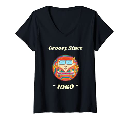 Mujer Hippie Peace Sign Van Groovy desde 1960 regalo de 60 cumpleaños Camiseta Cuello V