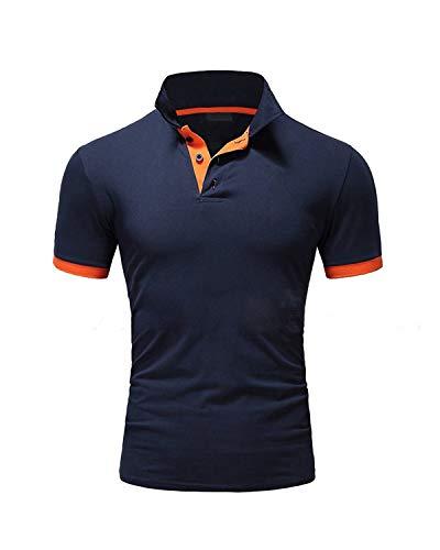 Ehpow Herren Poloshirt Basic Kurzarm Polohemd T-Shirt (Large, Navy)
