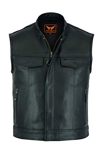 A&H Apparel Mens Genuine Cowhide Leather Vest Biker Vest Concealed Carry Durable Vest (4X-Large)