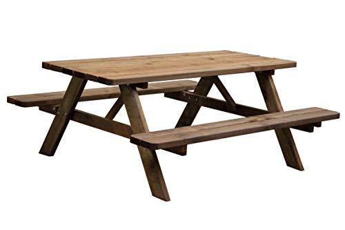 AVANTI TRENDSTORE - Verena - Tavolo da picnic con 2 panche integrato alla struttura e angoli arrontondati, in legno massello robusto. Dimensioni LAP 178x72x75 cm.