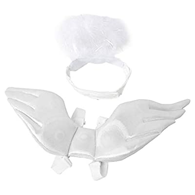 ATATMOUNT Halloween Pet Angel Wing Headwear Cosplay Cute Novelty Decor Hat Funny Party Costume Funny Clothing Accessories for Cats Kitten Small Dogs Xmas Festival Birthday Photo Prop