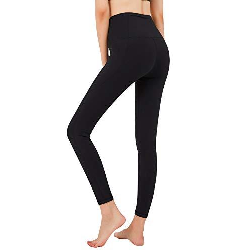 GSOTOA Frauen Sport Leggings, Yoga-Hose mit hoher Taille und Seitentasche, Opake Tummy Control Workout Strumpfhose für Lauffitness (Schwarz, XS)