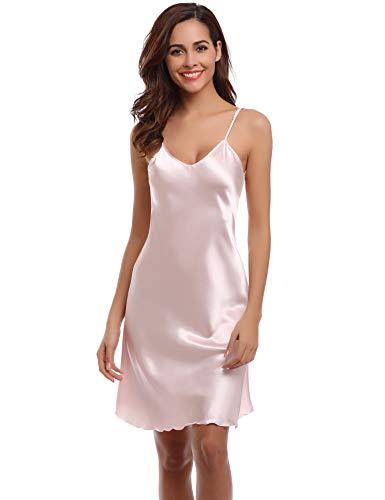 Aibrou Damen Sexy Negligee Nachthemd Satin Nachtkleid Nachtwäsche Unterwäsche Sleepwear Kurz Trägerkleid V Ausschnitt Rosa M