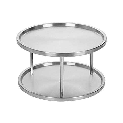 Aufbewahrungsplatte aus Edelstahl, praktisch für Gewürztablett, 360 Grad, drehbar, 2 Schichten für Schreibtisch, Esstisch, Küche