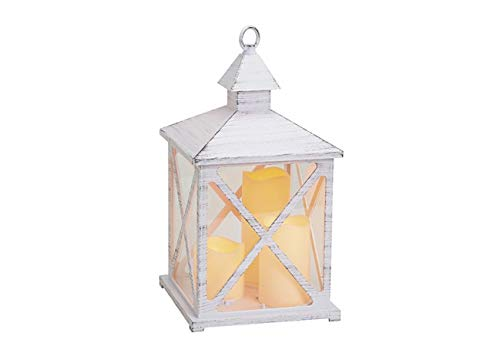 G. Wurm lantaarn met 3 stuks LED-kaars (echte kaarsflakker), van kunststof, houtlook, antiek, wit/grijs (B/H/D) 19 x 36 x 19 cm