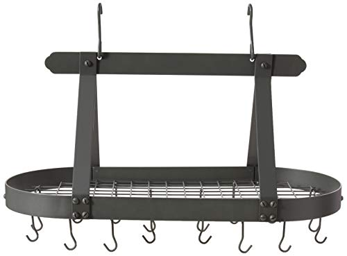 "Old Dutch Oval Steel Pot Rack w. Grid & 16 Hooks, Graphite, 36"" x 19"" x 15.5"""